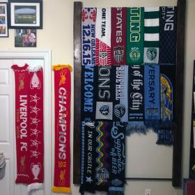 Most of the scarves have been moved onto the rack, with a little room left over for the full-hanging one.