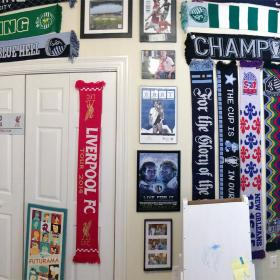 The scarves took up the entire wall, and there was no room for anything else.